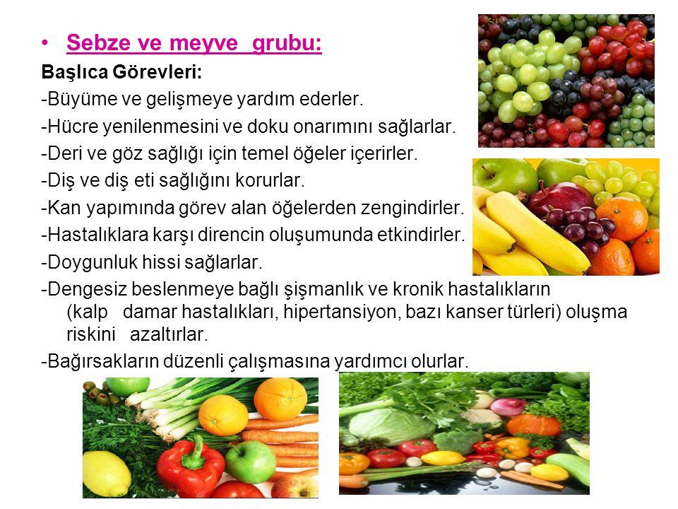 Sebze ve meyve grubu: Başlıca Görevleri: -Büyüme ve gelişmeye yardım ederler. -Hücre yenilenmesini ve doku onarımını sağlarlar. -Deri ve göz sağlığı i