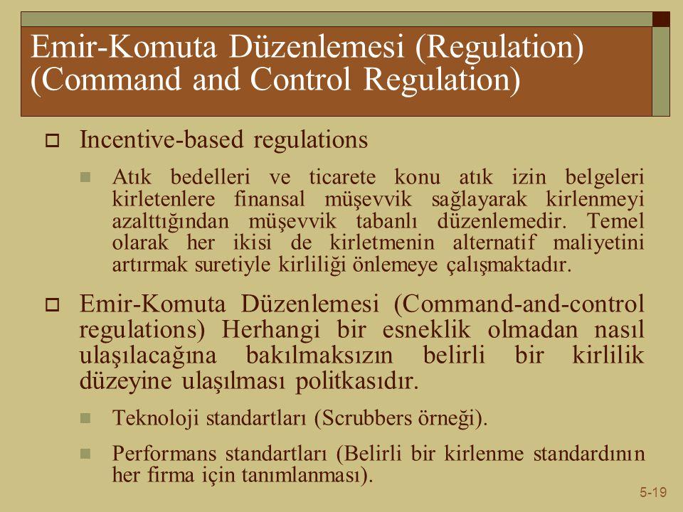 5-19 Emir-Komuta Düzenlemesi (Regulation) (Command and Control Regulation)  Incentive-based regulations Atık bedelleri ve ticarete konu atık izin bel