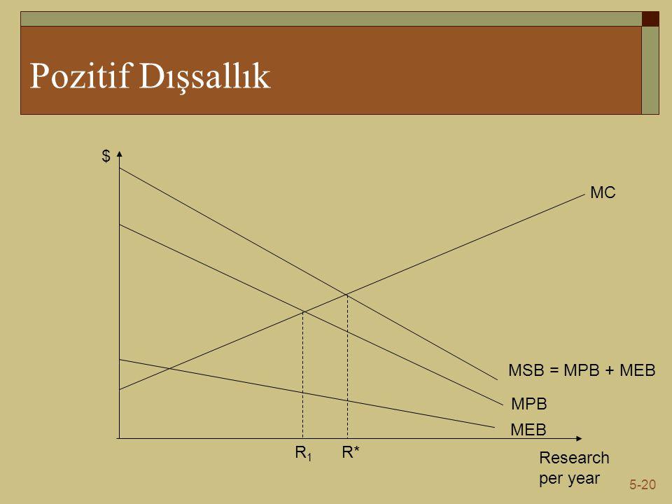 5-20 Pozitif Dışsallık Research per year $ MPB MC MEB MSB = MPB + MEB R*R1R1