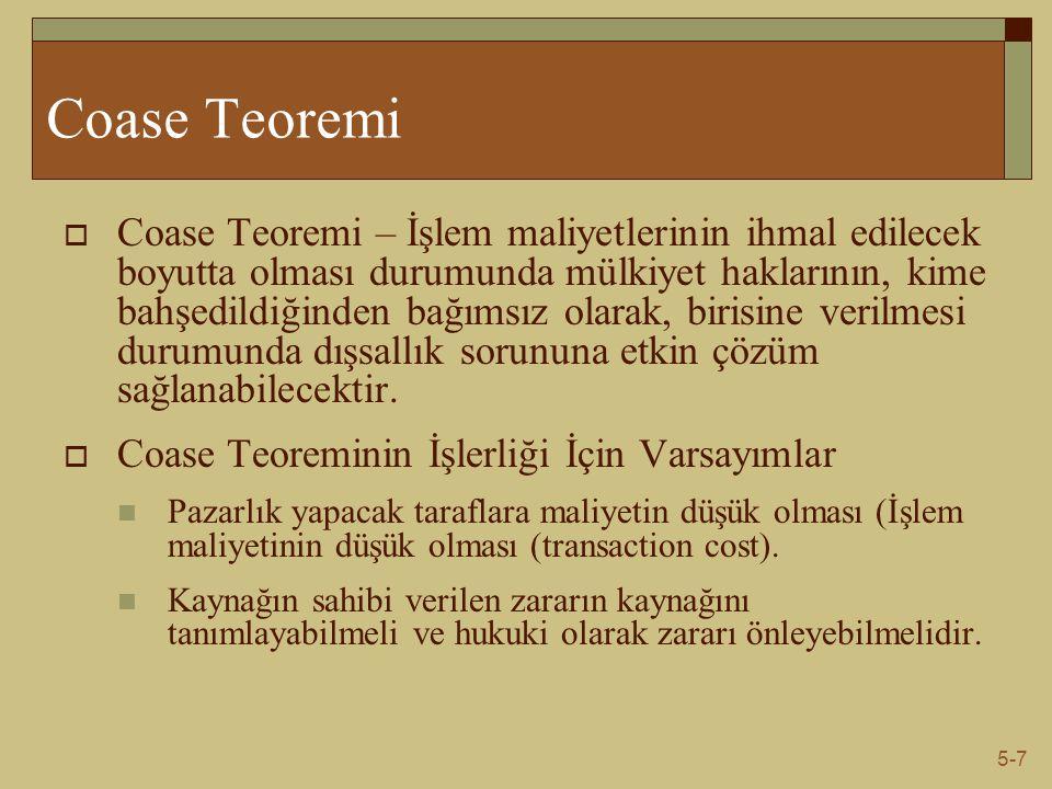 5-7 Coase Teoremi  Coase Teoremi – İşlem maliyetlerinin ihmal edilecek boyutta olması durumunda mülkiyet haklarının, kime bahşedildiğinden bağımsız o