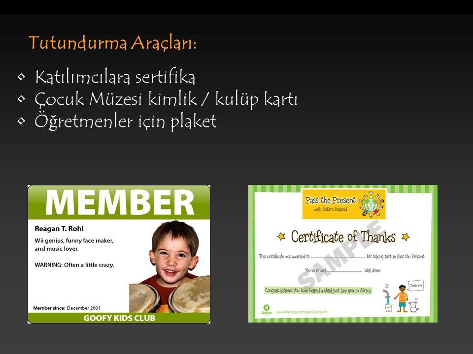 Tutundurma Araçları: Katılımcılara sertifika Çocuk Müzesi kimlik / kulüp kartı Ö ğ retmenler için plaket
