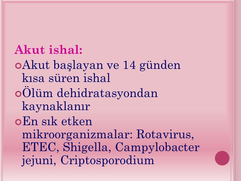 Akut ishal: Akut başlayan ve 14 günden kısa süren ishal Ölüm dehidratasyondan kaynaklanır En sık etken mikroorganizmalar: Rotavirus, ETEC, Shigella, Campylobacter jejuni, Criptosporodium