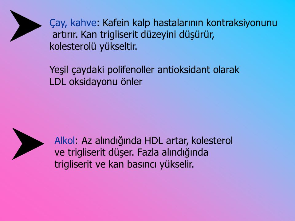 Alkol: Az alındığında HDL artar, kolesterol ve trigliserit düşer.