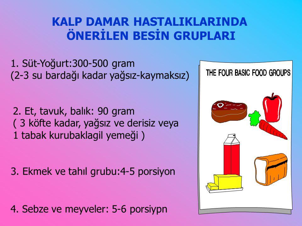 KALP DAMAR HASTALIKLARINDA ÖNERİLEN BESİN GRUPLARI 1.