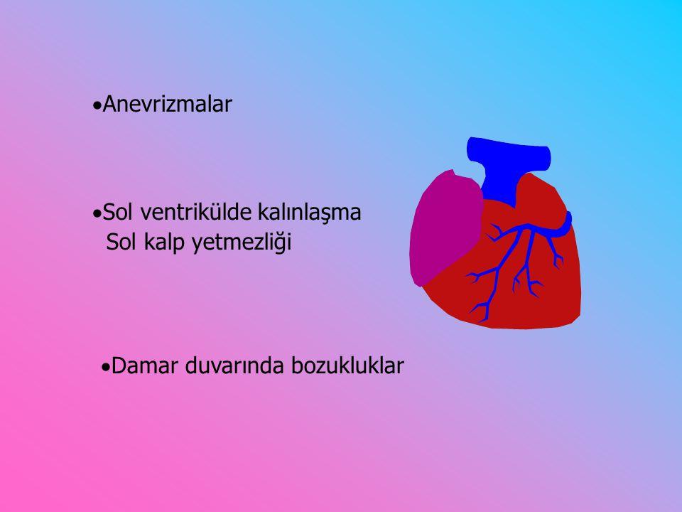  Damar duvarında bozukluklar  Anevrizmalar  Sol ventrikülde kalınlaşma Sol kalp yetmezliği