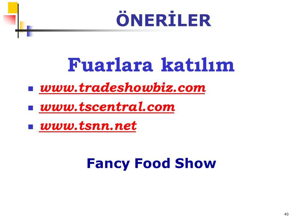 40 ÖNERİLER Fuarlara katılım www.tradeshowbiz.com www.tscentral.com www.tsnn.net Fancy Food Show