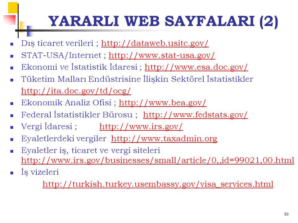 50 YARARLI WEB SAYFALARI (2) Dış ticaret verileri ; http://dataweb.usitc.gov/http://dataweb.usitc.gov/ STAT-USA/Internet ; http://www.stat-usa.gov/htt