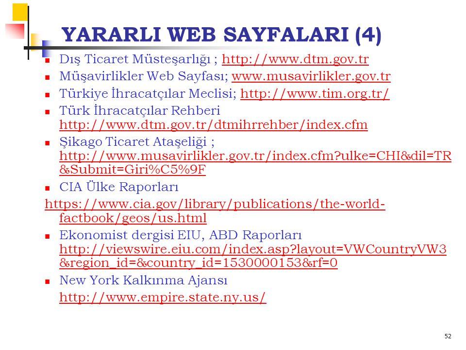 52 YARARLI WEB SAYFALARI (4) Dış Ticaret Müsteşarlığı ; http://www.dtm.gov.trhttp://www.dtm.gov.tr Müşavirlikler Web Sayfası; www.musavirlikler.gov.trwww.musavirlikler.gov.tr Türkiye İhracatçılar Meclisi; http://www.tim.org.tr/http://www.tim.org.tr/ Türk İhracatçılar Rehberi http://www.dtm.gov.tr/dtmihrrehber/index.cfm http://www.dtm.gov.tr/dtmihrrehber/index.cfm Şikago Ticaret Ataşeliği ; http://www.musavirlikler.gov.tr/index.cfm ulke=CHI&dil=TR &Submit=Giri%C5%9F http://www.musavirlikler.gov.tr/index.cfm ulke=CHI&dil=TR &Submit=Giri%C5%9F CIA Ülke Raporları https://www.cia.gov/library/publications/the-world- factbook/geos/us.html Ekonomist dergisi EIU, ABD Raporları http://viewswire.eiu.com/index.asp layout=VWCountryVW3 &region_id=&country_id=1530000153&rf=0 http://viewswire.eiu.com/index.asp layout=VWCountryVW3 &region_id=&country_id=1530000153&rf=0 New York Kalkınma Ajansı http://www.empire.state.ny.us/