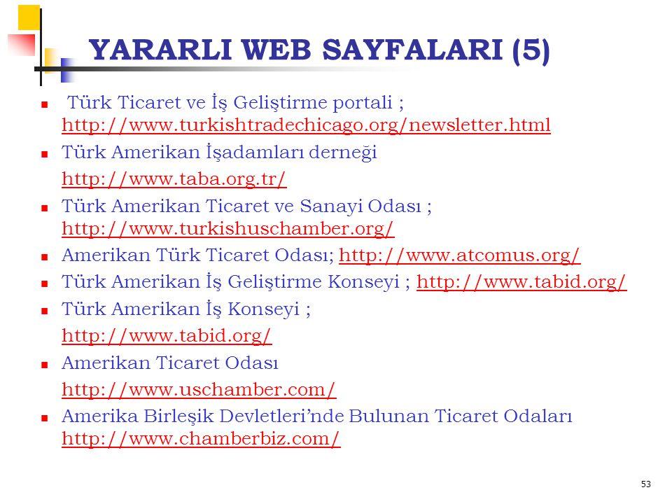 53 YARARLI WEB SAYFALARI (5) Türk Ticaret ve İş Geliştirme portali ; http://www.turkishtradechicago.org/newsletter.html http://www.turkishtradechicago.org/newsletter.html Türk Amerikan İşadamları derneği http://www.taba.org.tr/ Türk Amerikan Ticaret ve Sanayi Odası ; http://www.turkishuschamber.org/ http://www.turkishuschamber.org/ Amerikan Türk Ticaret Odası; http://www.atcomus.org/http://www.atcomus.org/ Türk Amerikan İş Geliştirme Konseyi ; http://www.tabid.org/http://www.tabid.org/ Türk Amerikan İş Konseyi ; http://www.tabid.org/ Amerikan Ticaret Odası http://www.uschamber.com/ Amerika Birleşik Devletleri'nde Bulunan Ticaret Odaları http://www.chamberbiz.com/ http://www.chamberbiz.com/