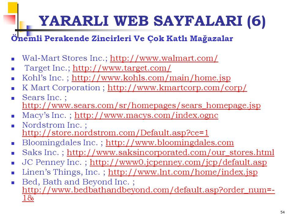 54 YARARLI WEB SAYFALARI (6) Önemli Perakende Zincirleri Ve Çok Katlı Mağazalar Wal-Mart Stores Inc.; http://www.walmart.com/http://www.walmart.com/ Target Inc.; http://www.target.com/ http://www.target.com/ Kohl's Inc.