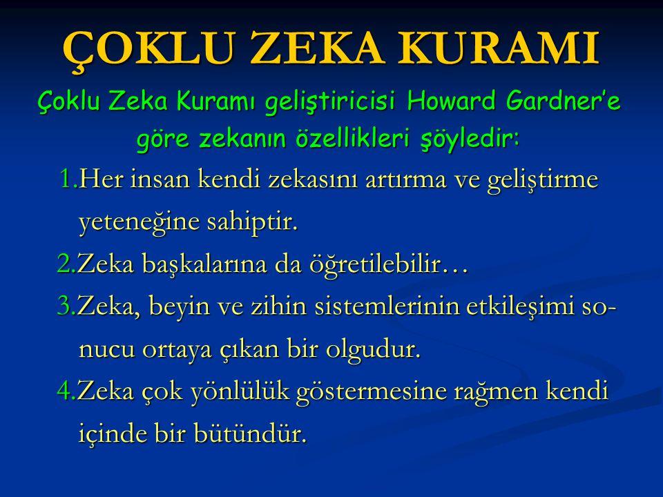 ÇOKLU ZEKA KURAMI Çoklu Zeka Kuramı geliştiricisi Howard Gardner'e göre zekanın özellikleri şöyledir: 1.Her insan kendi zekasını artırma ve geliştirme yeteneğine sahiptir.