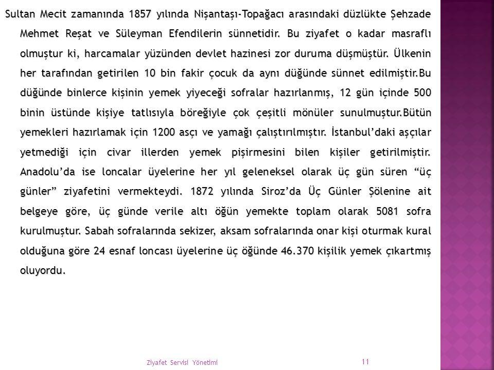 Sultan Mecit zamanında 1857 yılında Nişantaşı-Topağacı arasındaki düzlükte Şehzade Mehmet Reşat ve Süleyman Efendilerin sünnetidir. Bu ziyafet o kadar