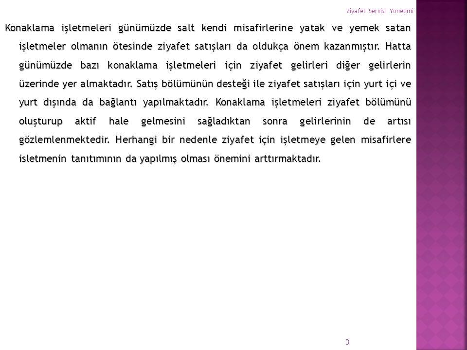  Ziyafet Personelinin isimleri ve Sorumlulukları  Banqueting Müdürü: Ziyafetin baştan sona yönetiminden sorumludur.