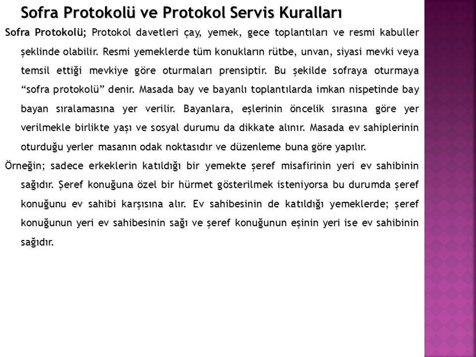 Sofra Protokolü ve Protokol Servis Kuralları Sofra Protokolü; Protokol davetleri çay, yemek, gece toplantıları ve resmi kabuller şeklinde olabilir. Re