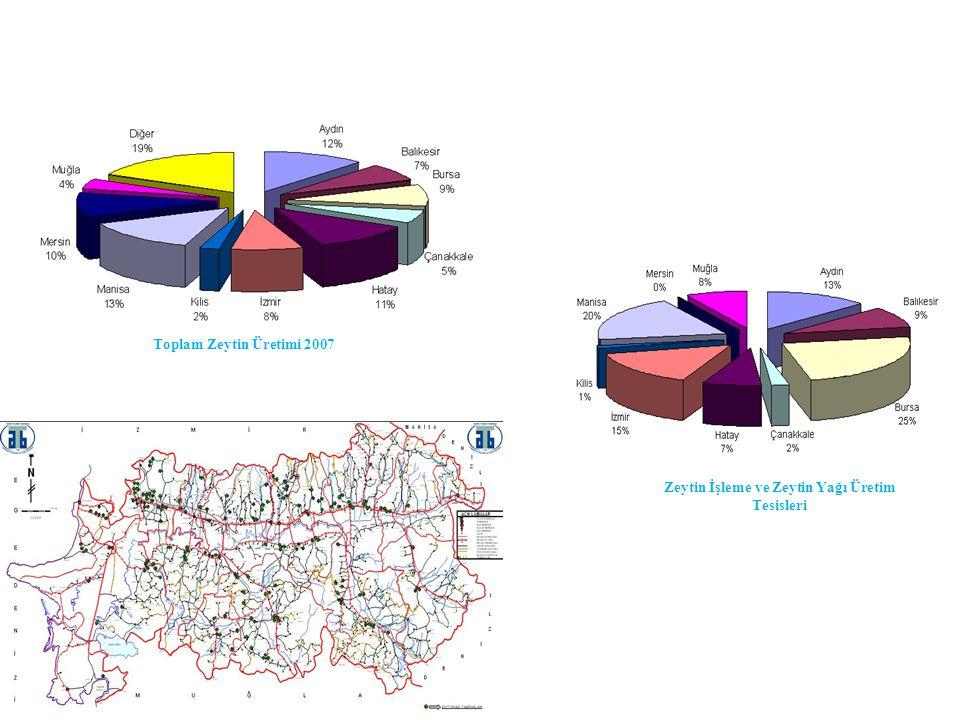 Toplam Zeytin Üretimi 2007 Zeytin İşleme ve Zeytin Yağı Üretim Tesisleri