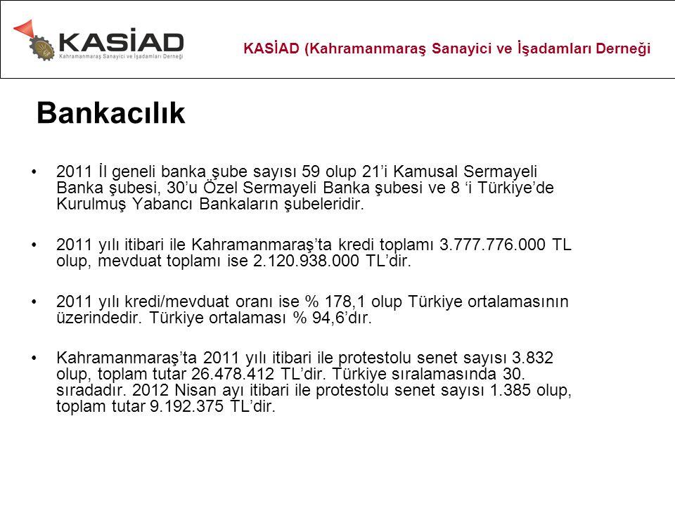Bankacılık 2011 İl geneli banka şube sayısı 59 olup 21'i Kamusal Sermayeli Banka şubesi, 30'u Özel Sermayeli Banka şubesi ve 8 'i Türkiye'de Kurulmuş