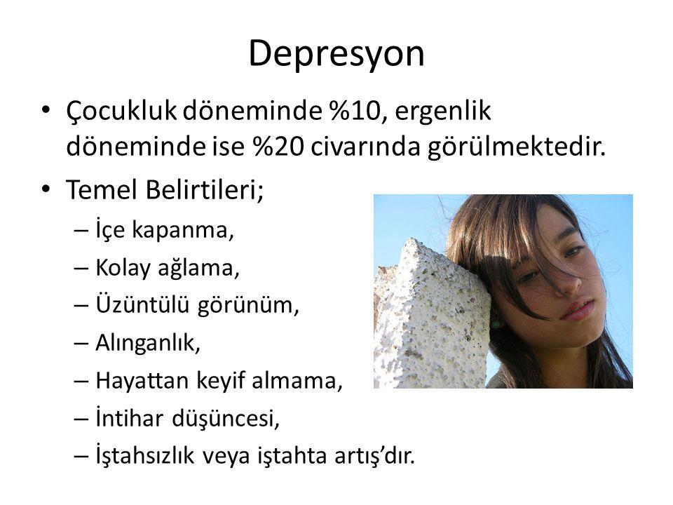 Depresyon Çocukluk döneminde %10, ergenlik döneminde ise %20 civarında görülmektedir. Temel Belirtileri; – İçe kapanma, – Kolay ağlama, – Üzüntülü gör