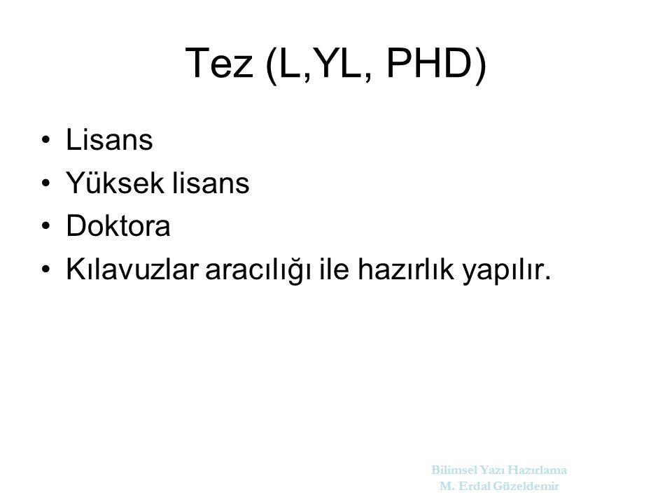 Tez (L,YL, PHD) Lisans Yüksek lisans Doktora Kılavuzlar aracılığı ile hazırlık yapılır.
