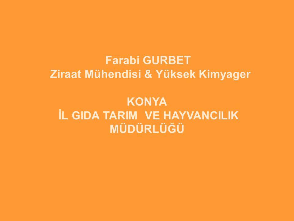 Farabi GURBET Ziraat Mühendisi & Yüksek Kimyager KONYA İL GIDA TARIM VE HAYVANCILIK MÜDÜRLÜĞÜ