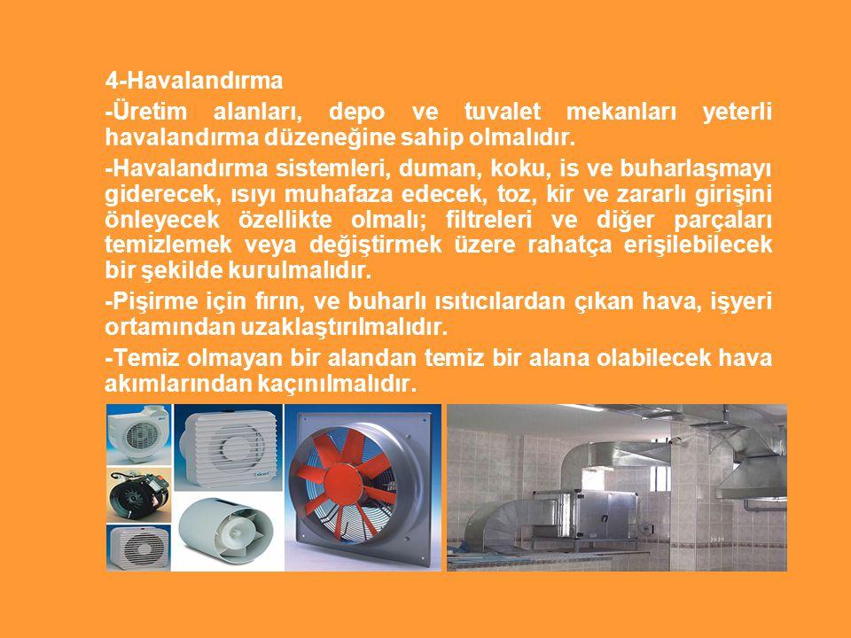 4-Havalandırma -Üretim alanları, depo ve tuvalet mekanları yeterli havalandırma düzeneğine sahip olmalıdır. -Havalandırma sistemleri, duman, koku, is
