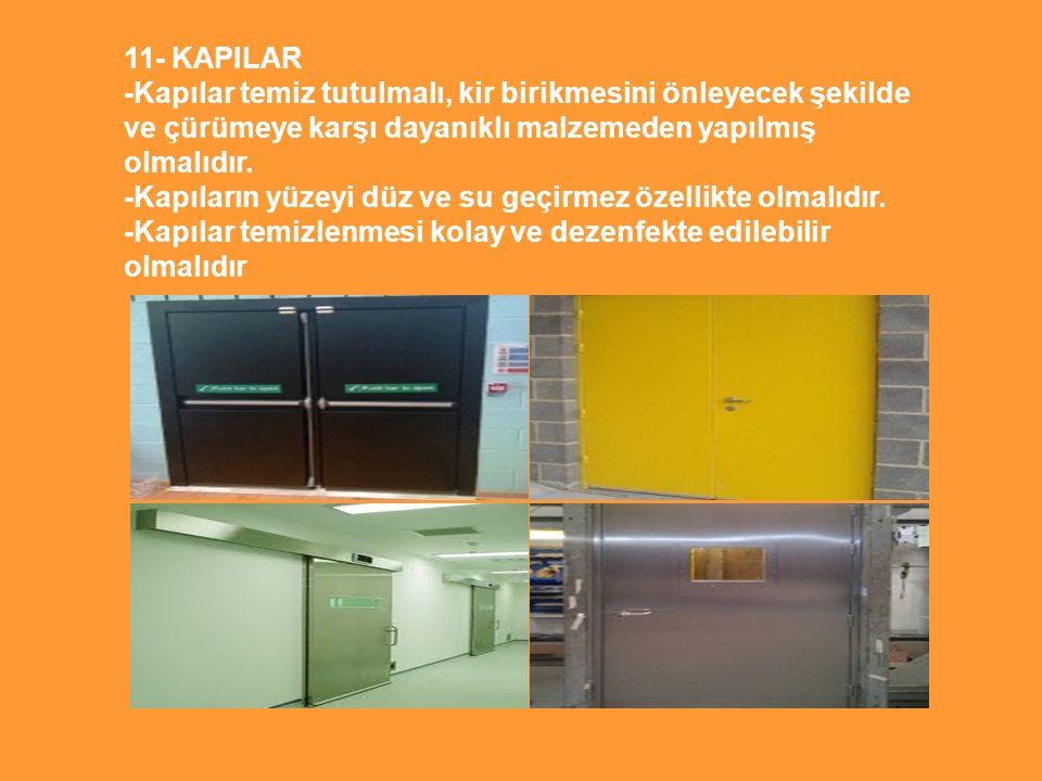 11- KAPILAR -Kapılar temiz tutulmalı, kir birikmesini önleyecek şekilde ve çürümeye karşı dayanıklı malzemeden yapılmış olmalıdır. -Kapıların yüzeyi d