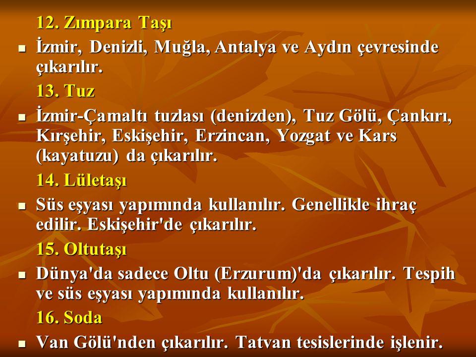 10. Civa  Elektrik, elektronik sanayide ve eczacılıkta kullanılır.  Ödemiş (İzmir), Sarayönü (Konya), Kadınham (Balıkesir) önemli yataklarıdır. 11.