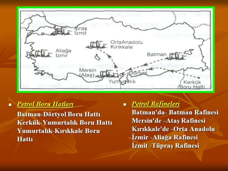 3.PETROL Ülkemizde petrol yatakları açısından fazla zengin değildir. En zengin bölge Güneydoğu Anadolu'dadır. Batman'da; Raman, Garzan, Botan, Kahta (