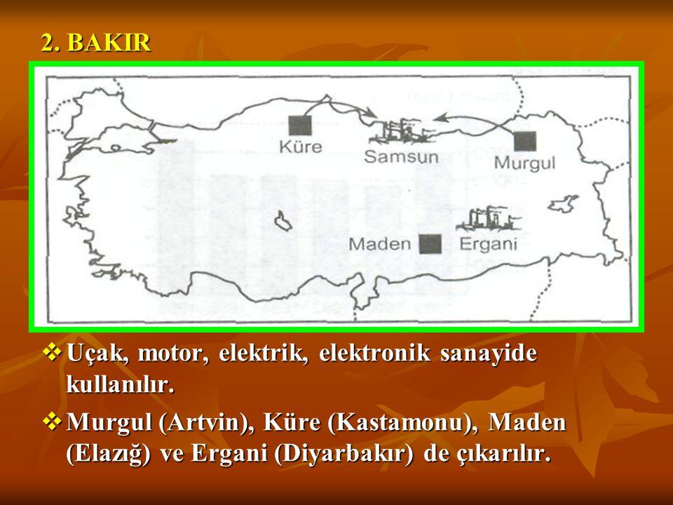 1. DEMİR  En büyük demir yatakları Doğu Anadolu Bölgesi'ndedir.  Sivas-Divriği'de yaklaşık %80'i çıkarılır.  Bunun dışında Hekimhan-Hasan Çelebi (M