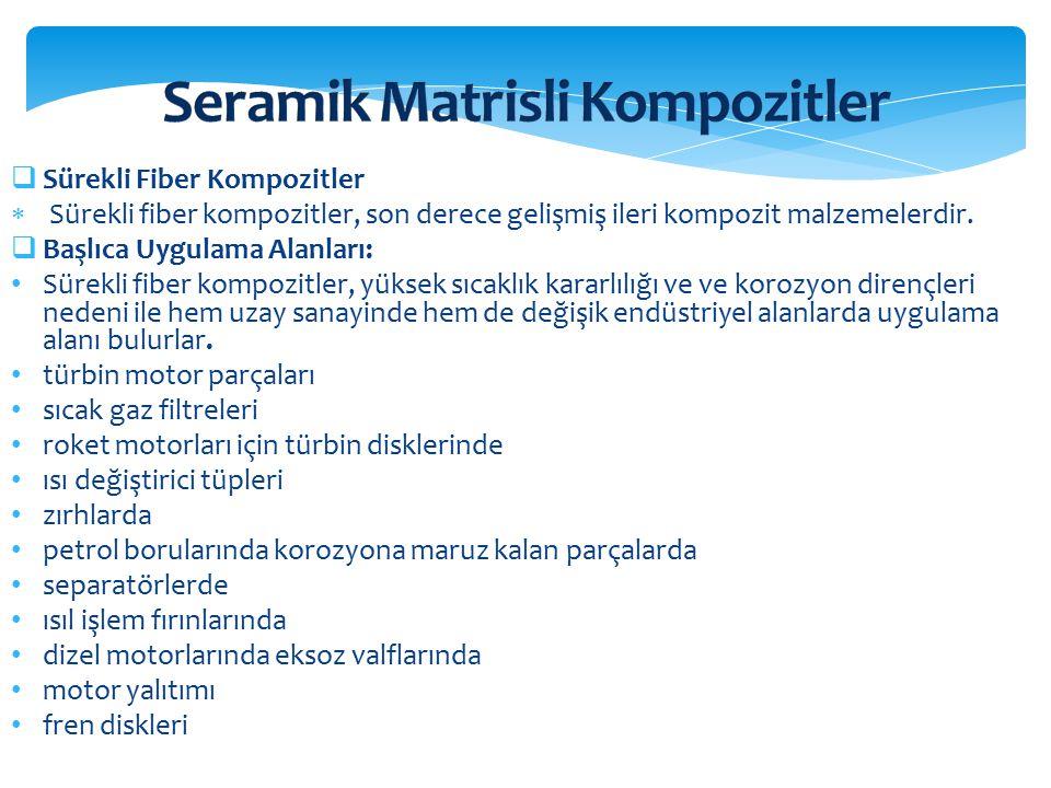  Sürekli Fiber Kompozitler  Sürekli fiber kompozitler, son derece gelişmiş ileri kompozit malzemelerdir.  Başlıca Uygulama Alanları: Sürekli fiber