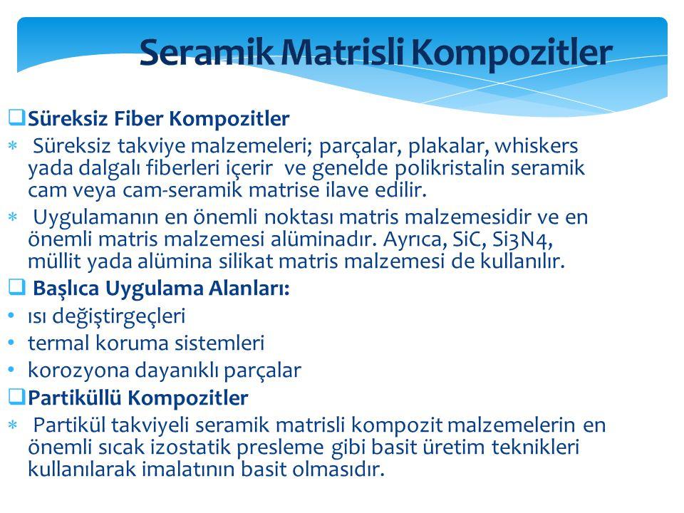  Süreksiz Fiber Kompozitler  Süreksiz takviye malzemeleri; parçalar, plakalar, whiskers yada dalgalı fiberleri içerir ve genelde polikristalin seram