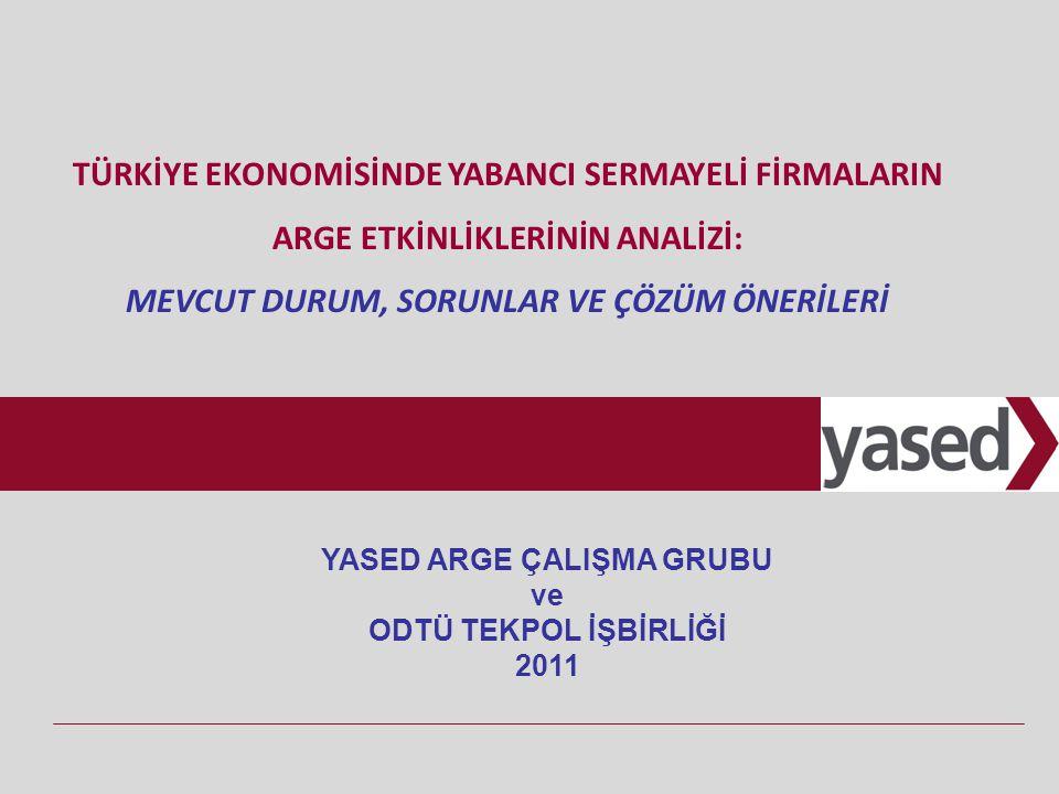 http://www.yased.org.tr - http://extranet.yased.org.tr 2 AMAÇ - İÇERİK Türkiye'nin %2 ArGe yoğunluğu hedefi için: Türkiye'de faaliyet gösteren çok uluslu şirketlerin (ÇUŞ) ArGe etkinliklerinin çözümlenmesi ve bu çözümlemeye dayanarak politika önerileri oluşturulması Raporun içeriği; Türkiye'de faaliyet gösteren yabancı sermayeli firmaların ArGe etkinliklerinin çözümlenmesi Mevcut durum tespiti Kamu ve özel sektör için politika önerileri Raporun bölümleri; Gelişmekte olan ülkelerde (GOÜ) ArGe faaliyetleri Türkiye'de ArGe faaliyetleri ve ÇUŞ'lar GZFT analizi ve mülakatlar olmak üzere 3 kısımdan oluşmaktadır.