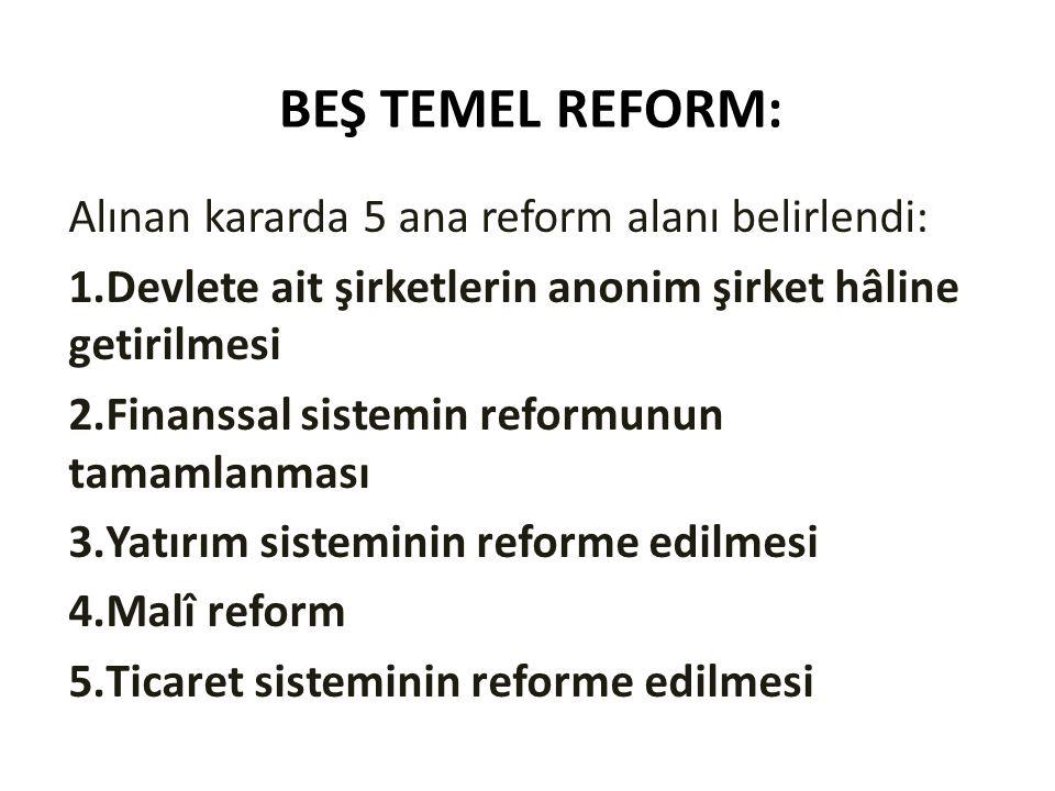 BEŞ TEMEL REFORM: Alınan kararda 5 ana reform alanı belirlendi: 1.Devlete ait şirketlerin anonim şirket hâline getirilmesi 2.Finanssal sistemin reform