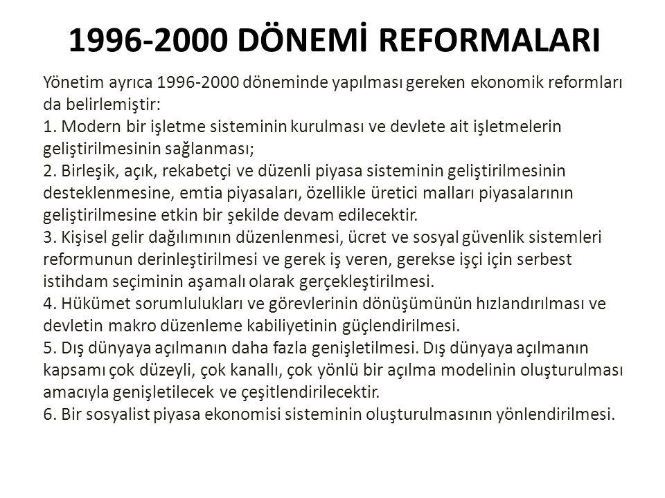 1996-2000 DÖNEMİ REFORMALARI Yönetim ayrıca 1996-2000 döneminde yapılması gereken ekonomik reformları da belirlemiştir: 1. Modern bir işletme sistemin