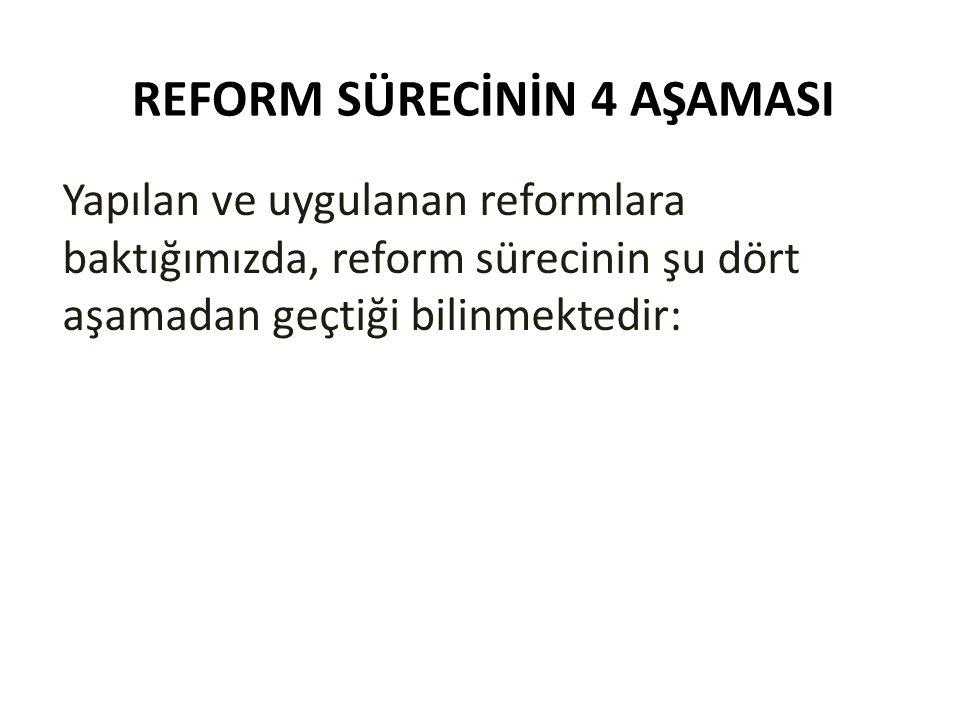 REFORM SÜRECİNİN 4 AŞAMASI Yapılan ve uygulanan reformlara baktığımızda, reform sürecinin şu dört aşamadan geçtiği bilinmektedir: