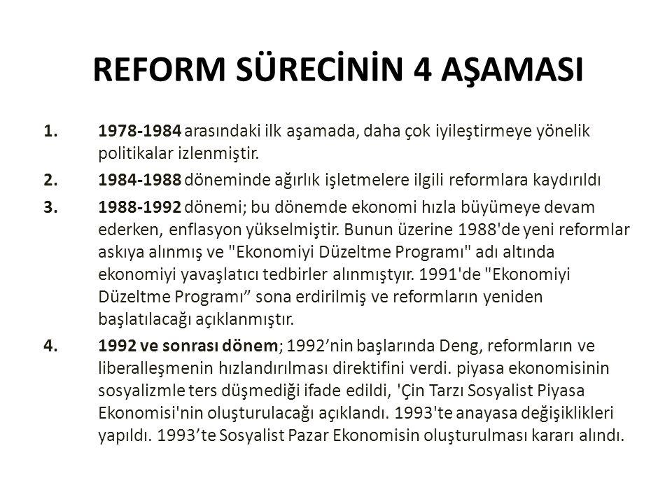 REFORM SÜRECİNİN 4 AŞAMASI 1.1978-1984 arasındaki ilk aşamada, daha çok iyileştirmeye yönelik politikalar izlenmiştir. 2.1984-1988 döneminde ağırlık i