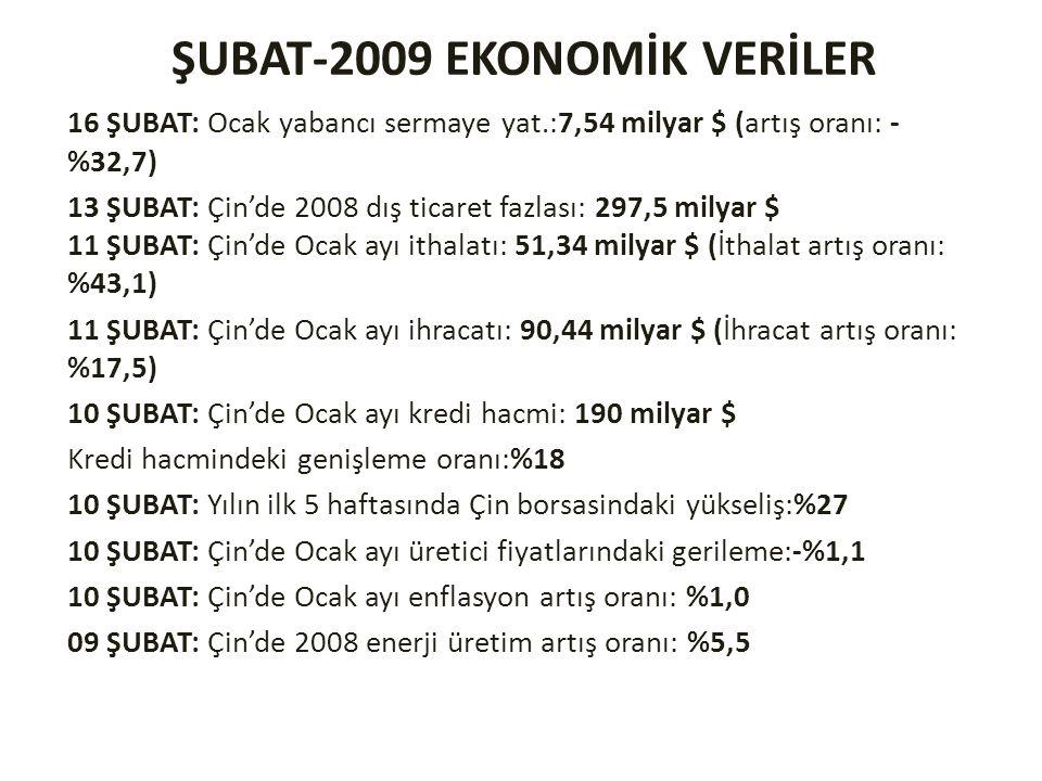 ŞUBAT-2009 EKONOMİK VERİLER 16 ŞUBAT: Ocak yabancı sermaye yat.:7,54 milyar $ (artış oranı: - %32,7) 13 ŞUBAT: Çin'de 2008 dış ticaret fazlası: 297,5