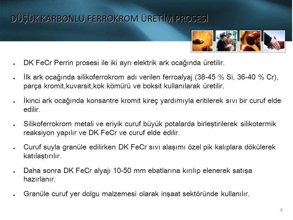8 DÜŞÜK KARBONLU FERROKROM ÜRETİM PROSESİ ● DK FeCr Perrin prosesi ile iki ayrı elektrik ark ocağında üretilir.