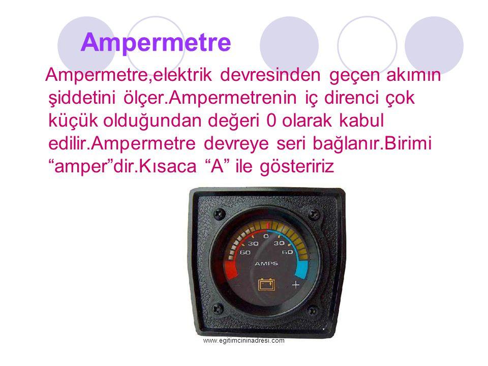 Ampermetre Ampermetre,elektrik devresinden geçen akımın şiddetini ölçer.Ampermetrenin iç direnci çok küçük olduğundan değeri 0 olarak kabul edilir.Amp
