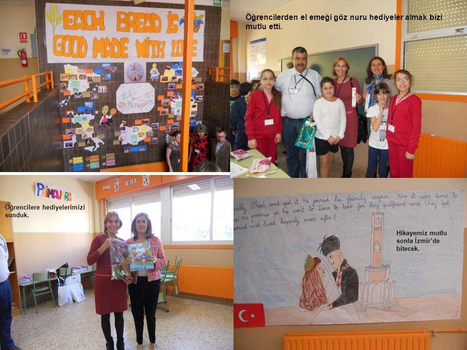Öğrencilere hediyelerimizi sunduk. Öğrencilerden el emeği göz nuru hediyeler almak bizi mutlu etti. Hikayemiz mutlu sonla İzmir'de bitecek.