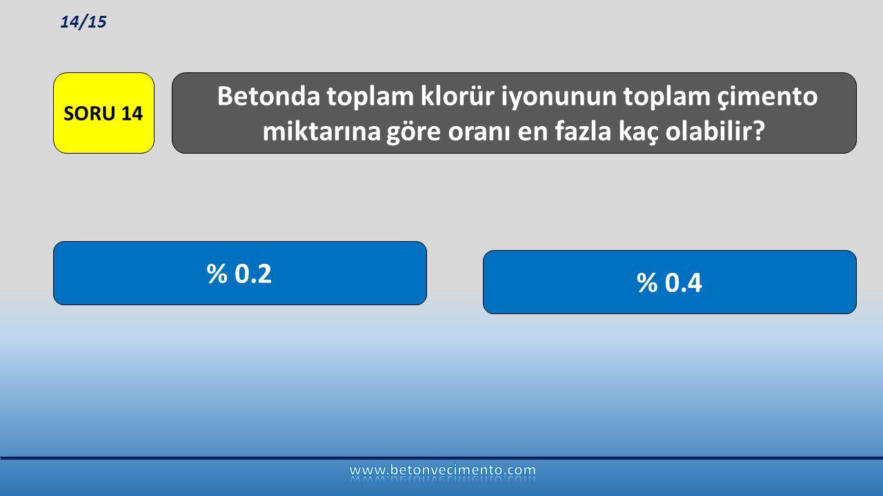% 0.4 % 0.2 Betonda toplam klorür iyonunun toplam çimento miktarına göre oranı en fazla kaç olabilir? SORU 14 14/15