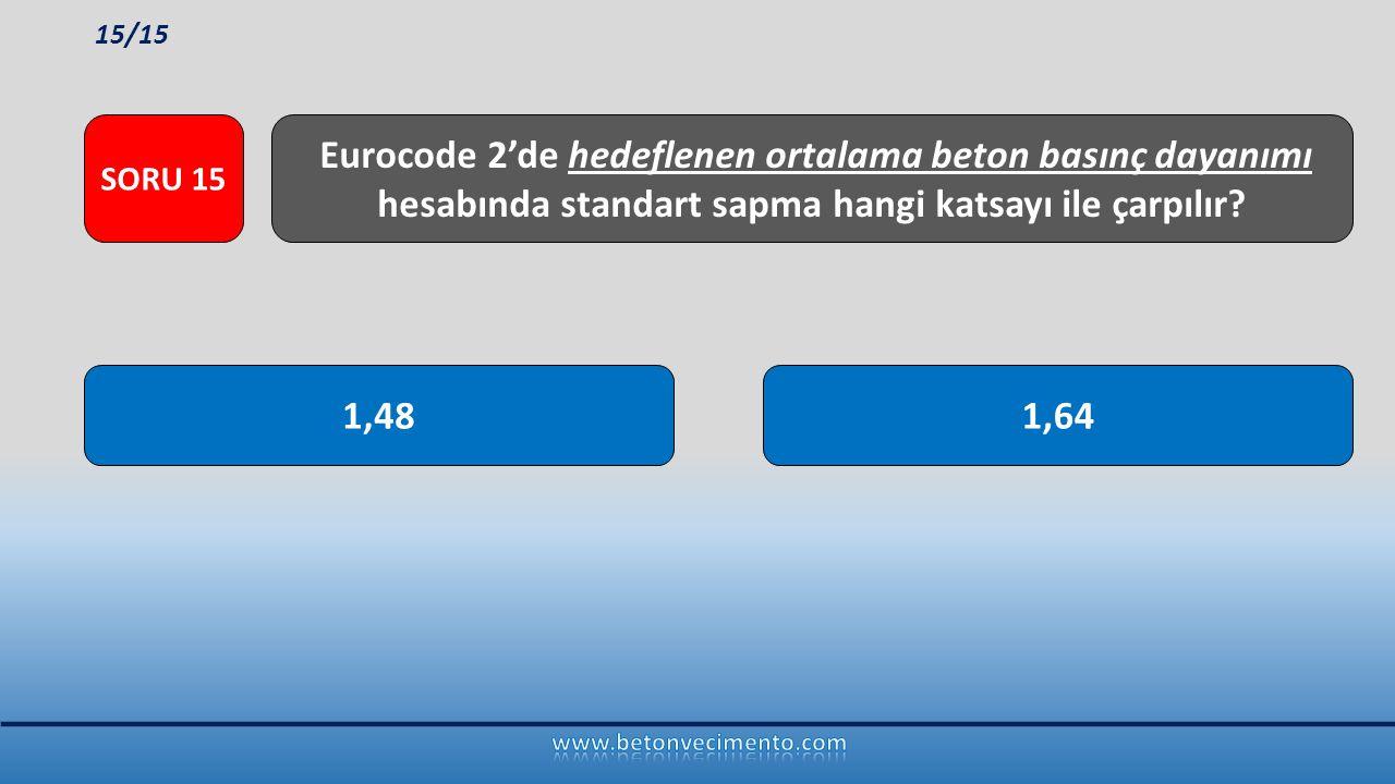 1,641,48 Eurocode 2'de hedeflenen ortalama beton basınç dayanımı hesabında standart sapma hangi katsayı ile çarpılır? SORU 15 15/15
