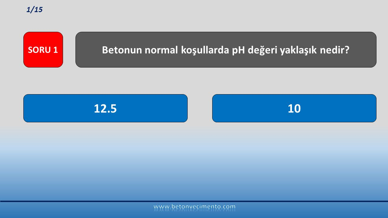 12.510 Betonun normal koşullarda pH değeri yaklaşık nedir? SORU 1 1/15