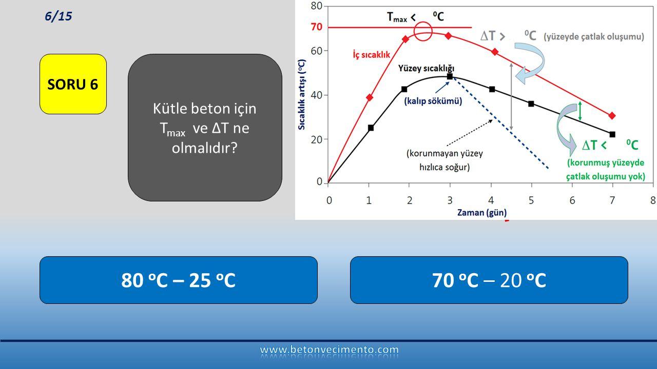 70 o C – 20 o C80 o C – 25 o C Kütle beton için T max ve ∆T ne olmalıdır? SORU 6 6/15