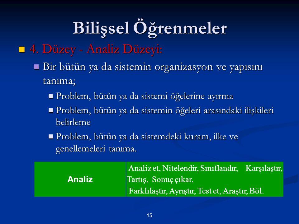 Bilişsel Öğrenmeler 4. Düzey - Analiz Düzeyi: 4. Düzey - Analiz Düzeyi: Bir bütün ya da sistemin organizasyon ve yapısını tanıma; Bir bütün ya da sist