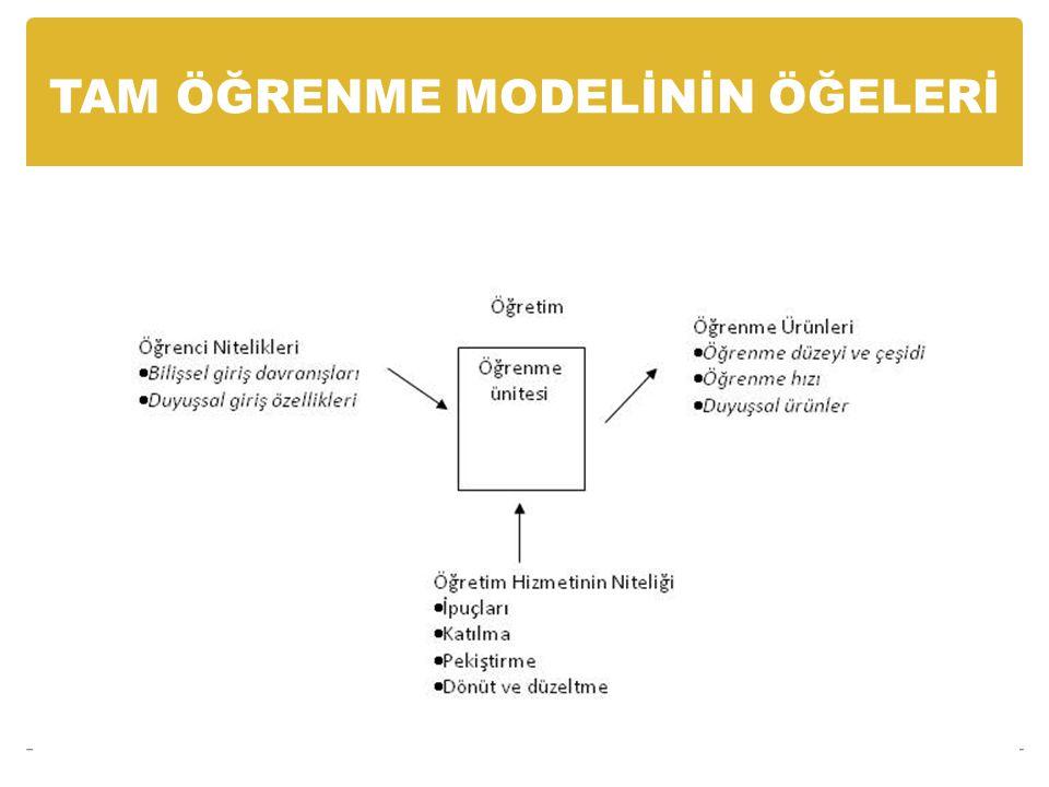 Tam öğrenme modelinde geçen değişkenlerle ilgili önemli noktalar kısaca şöyledir:
