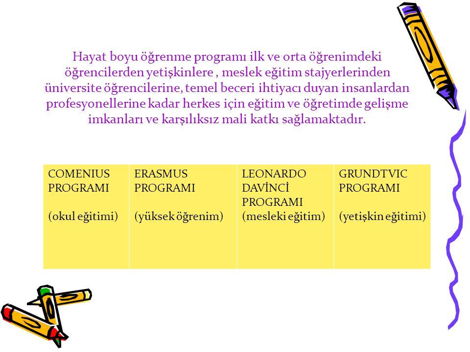 COMENIUS PROGRAMI (okul eğitimi) ERASMUS PROGRAMI (yüksek öğrenim) LEONARDO DAVİNCİ PROGRAMI (mesleki eğitim) GRUNDTVIC PROGRAMI (yetişkin eğitimi)