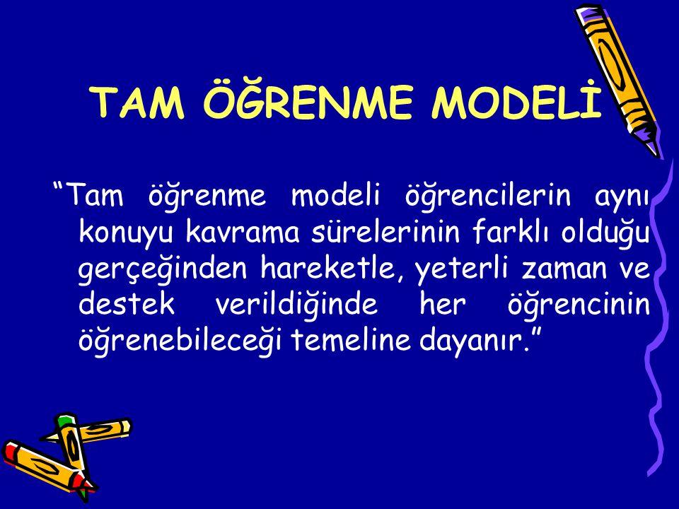 Tam öğrenme modeli, Bloom tarafından, Carroll 'un okulda öğrenme modelinden yararlanılarak geliştirilmiştir.