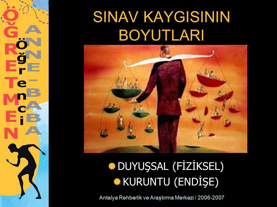 Antalya Rehberlik ve Araştırma Merkezi / 2006-2007 SINAV KAYGISININ BOYUTLARI  DUYUŞSAL (FİZİKSEL)  KURUNTU (ENDİŞE)