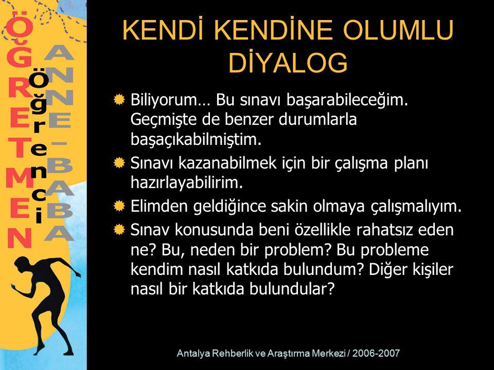 Antalya Rehberlik ve Araştırma Merkezi / 2006-2007 KENDİ KENDİNE OLUMLU DİYALOG  Biliyorum… Bu sınavı başarabileceğim. Geçmişte de benzer durumlarla