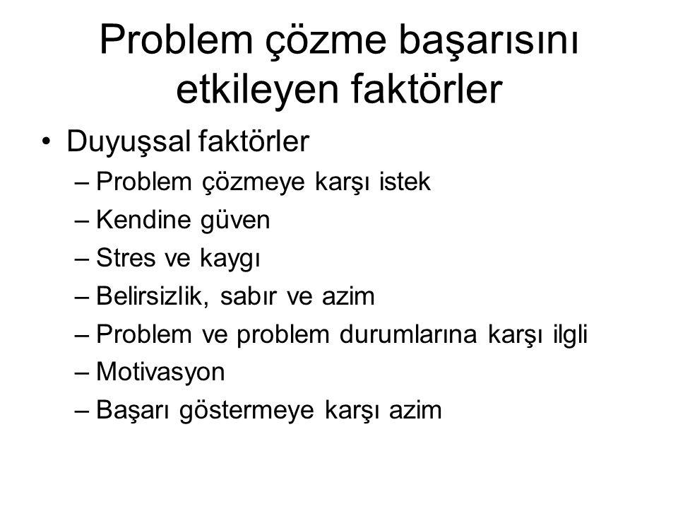 Problem çözme başarısını etkileyen faktörler Duyuşsal faktörler –Problem çözmeye karşı istek –Kendine güven –Stres ve kaygı –Belirsizlik, sabır ve azi